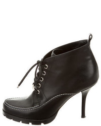 Christian Dior Leather Round Toe Ankle Boots