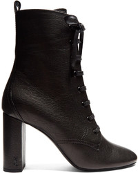 Saint Laurent Loulou Lace Up Grained Leather Ankle Boots