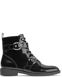 Marc Jacobs Taylor Lace Up Patent Leather Ankle Boots Black