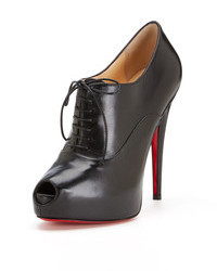 Christian Louboutin Miss Poppins Leather Peep Toe Platform Bootie