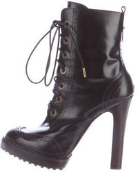 McQ by Alexander McQueen Patent Lace Up Ankle Boots