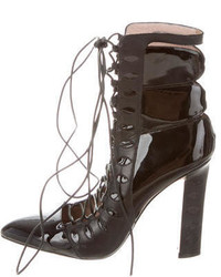 Paula Cademartori Pointed Toe Lace Up Ankle Booties