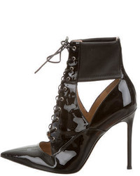 Gianvito Rossi Pointed Toe Patent Leather Ankle Boots