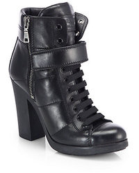 Prada Leather Lace Up Ankle Boots