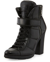 Prada Linea Rossa Chunky Lace Up Leather Bootie