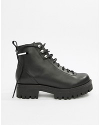 ASOS DESIGN Premium Rivalry Leather Chunky Lace Up Ankle Boots Leather