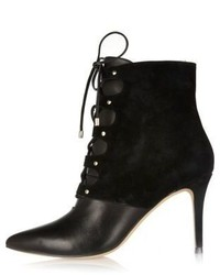 River Island Black Leather And Suede Pointed Lace Up Boots