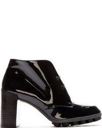 Robert Clergerie Ssense Navy Patent Leather Lace Up Ankle Boots