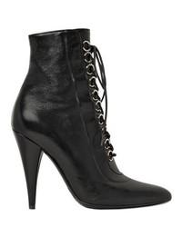 Saint Laurent 105mm Fetish Lace Up Leather Ankle Boots