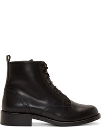Saint Laurent Black Leather Ranger Lace Up Ankle Boots