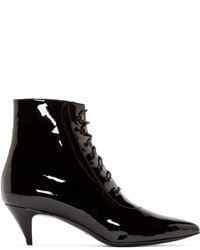 Saint Laurent Black Patent Cat Ankle Boots