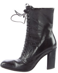 Saint Laurent Yves Leather Lace Up Ankle Boots
