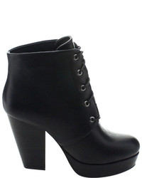 Wild Diva Sasa 01 Ankle Boot Black Faux Leather Boots