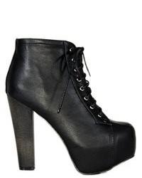 Soho Girl Leather Platform Boots Black