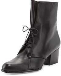 Stuart Weitzman Stepin Leather Lace Up Bootie Black