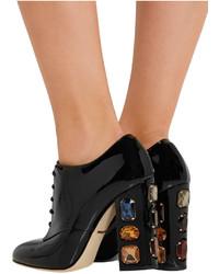 Dolce & Gabbana Swarovski Crystal Embellished Patent Leather Ankle Boots