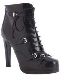 Tabitha Simmons Black Leather Lace Up Hanna Booties