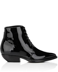 Saint Laurent Theo Patent Leather Lace Up Ankle Boots