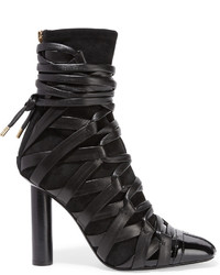 Tom Ford Leather And Suede Ankle Boots Black
