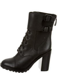 Tory Burch Leather Lace Up Ankle Boots