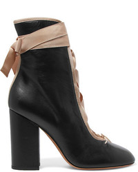 Valentino Lace Up Leather Ankle Boots Black