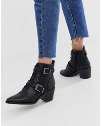 New Look Western Heeled Boot In Black