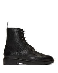 Thom Browne Black Classic Wingtip Boots