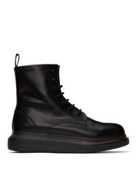 Alexander McQueen Black Contrast Sole Hybrid Combat Boots