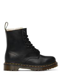 Dr. Martens Black Faux Fur 1460 Serena Boots