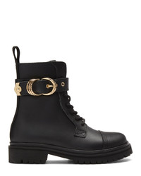Versace Jeans Couture Black Leather Hiking Boots