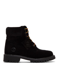 Off-White Black Timberland Edition Velvet Boots