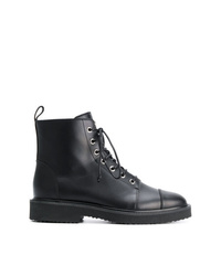 d43613aaaf283b Women s Black Leather Lace-up Flat Boots by Giuseppe Zanotti Design ...