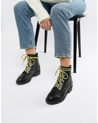 New Look Contrast Lace Hiker Flat Boot