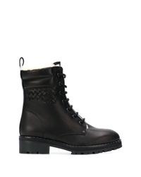 Bottega Veneta Fur Lined Lace Up Ankle Boots