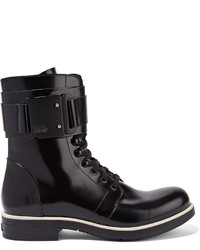 Karl Lagerfeld Glossed Leather Ankle Boots