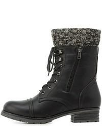 Charlotte Russe Knit Trim Combat Boots