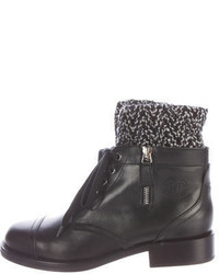 Chanel Knit Trimmed Ankle Boots W Tags