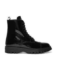 Prada Lace Up Patent Leather Ankle Boots