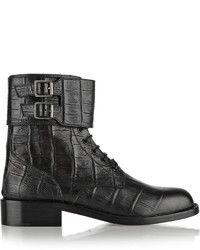Saint Laurent Patti Croc Effect Leather Ankle Boots