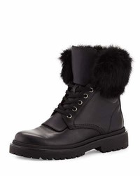 Moncler Patty Fur Collar Hiker Boot Black
