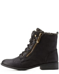 Charlotte Russe Qupid Shearling Lined Combat Booties