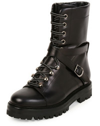 Valentino Rockstud Leather Combat Boot Black
