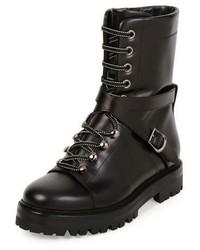 Valentino Rockstud Leather Combat Boot Nero