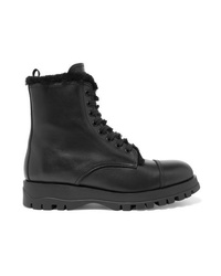 Prada Shearling Lined Leather Ankle Boots