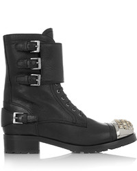 Miu Miu Swarovski Crystal Embellished Leather Ankle Boots