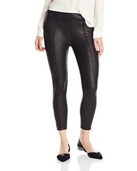 7 For All Mankind Seamed Legging With Ankle Zips In Black Leather Like