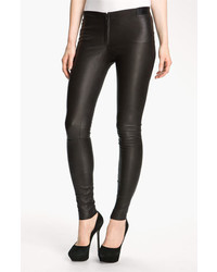 Alice + Olivia Leather Leggings Black 4