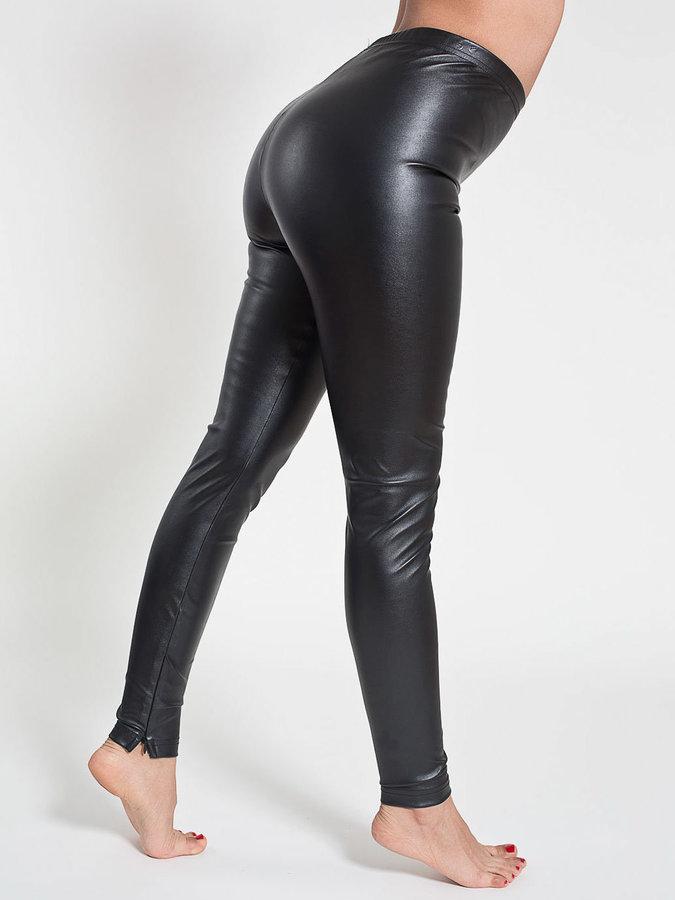 Black leather leggings zip