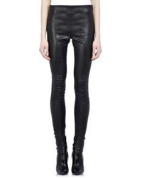 Saint Laurent Ankle Zip Leather Leggings