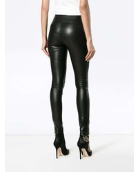 Sprwmn Black Leather High Waist Leggings